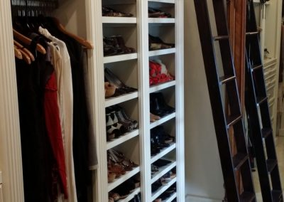 closet for shoes with ladder