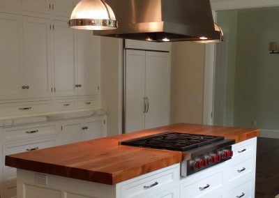 kitchen counter with solid 3 inch teak