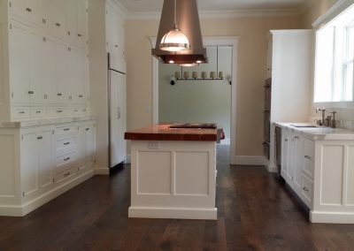 kitchen with solid teak counter and a pantry