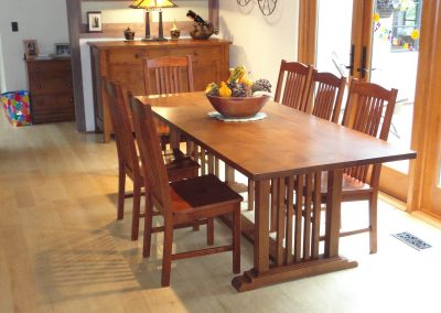 mission style table and chairs