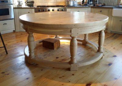 round kitchen work table in reclaimed fir