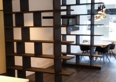Contemporary shelving used as room dividers