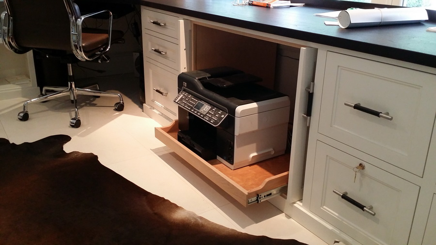 Home Office Desk With Roll Out Printer Locking File Drawers Leather Handles Espresso Stained Cherry Counter
