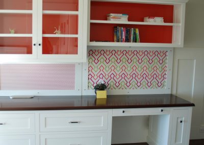 home office walnut painted cabinetry