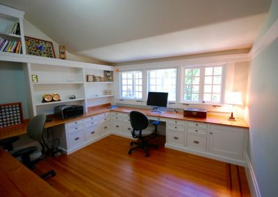 home office wrap around counters with two work stations