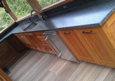Teak outdoor kitchen
