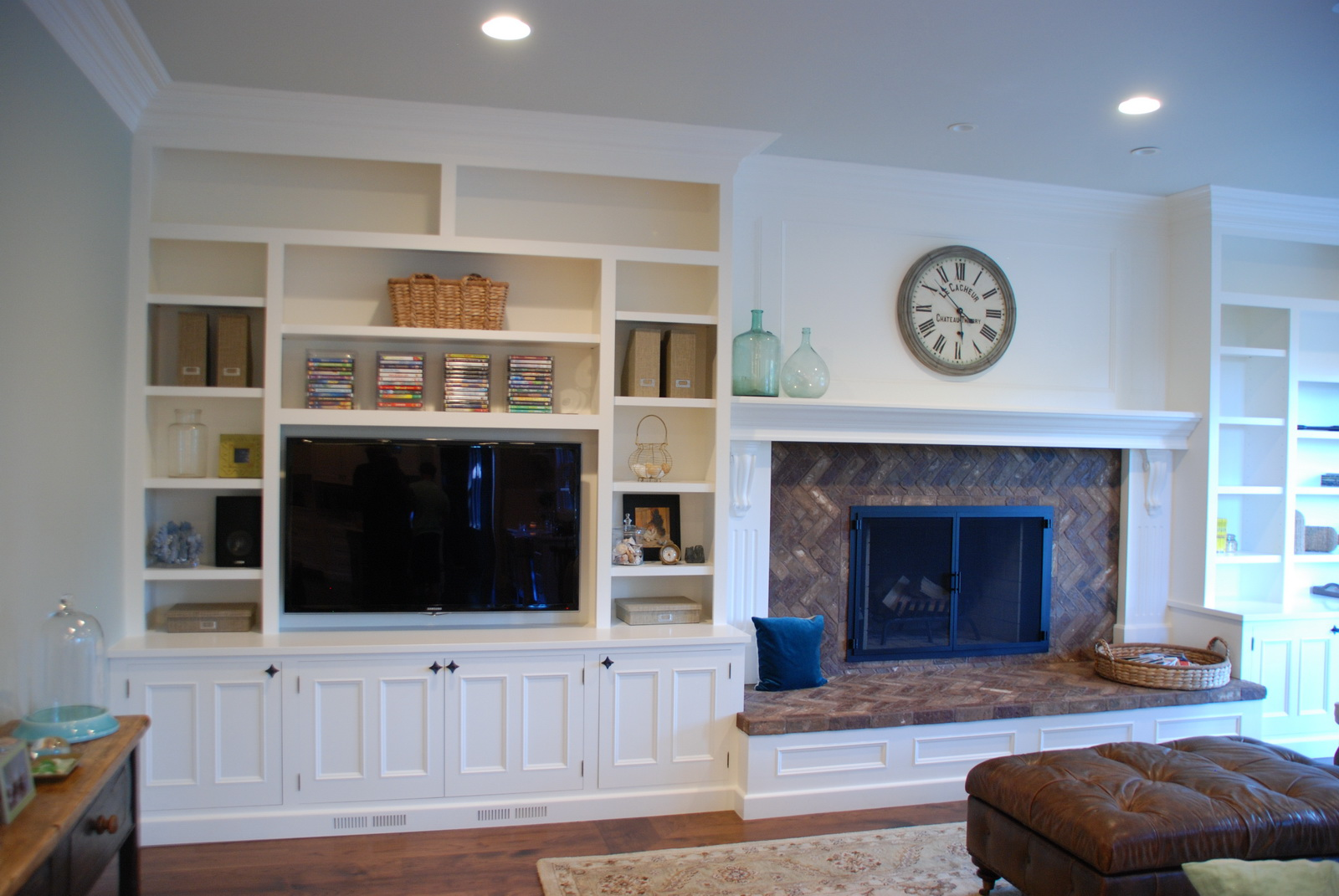 Built In Stereo And Tv Cabinet Next To Fireplace