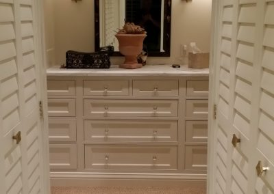 Whether a wall closet or a walk in closet, configuration of shelves, rods and drawers are crucial for individual design.  Stain grade displaying rich wood colors or paint grade to brighten a space.  And, don't forget the type of lighting are all important elements to complete an efficient and enjoyable space.