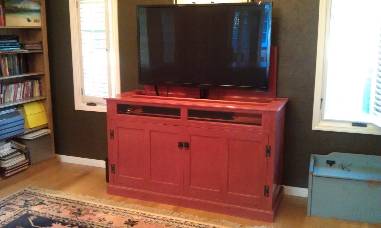 popup tv cabinet with painted finish